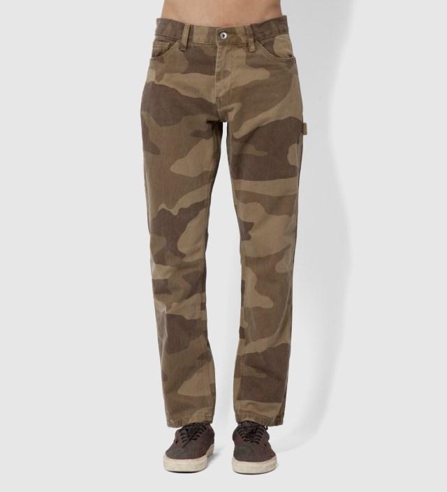 Stussy Khaki Camo Herringbone Work Pants