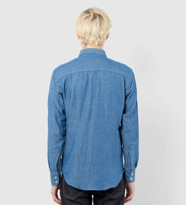 Naked & Famous Blue Doubleface with Check Interior Slim Shirt