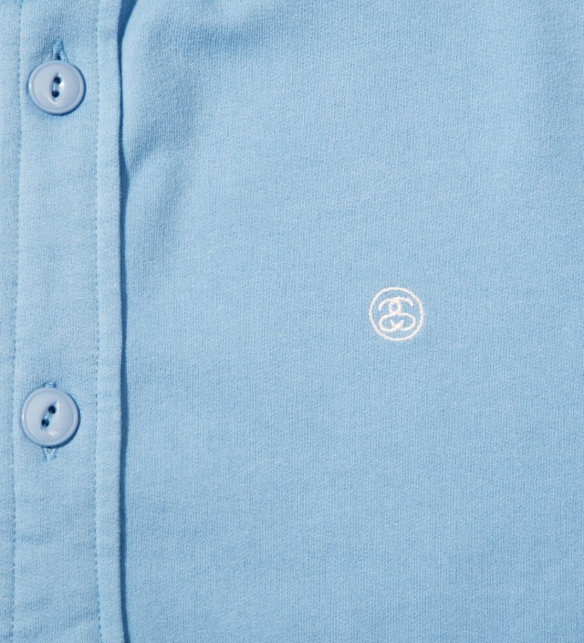 Stussy Blue Fleece Button Up Shirt