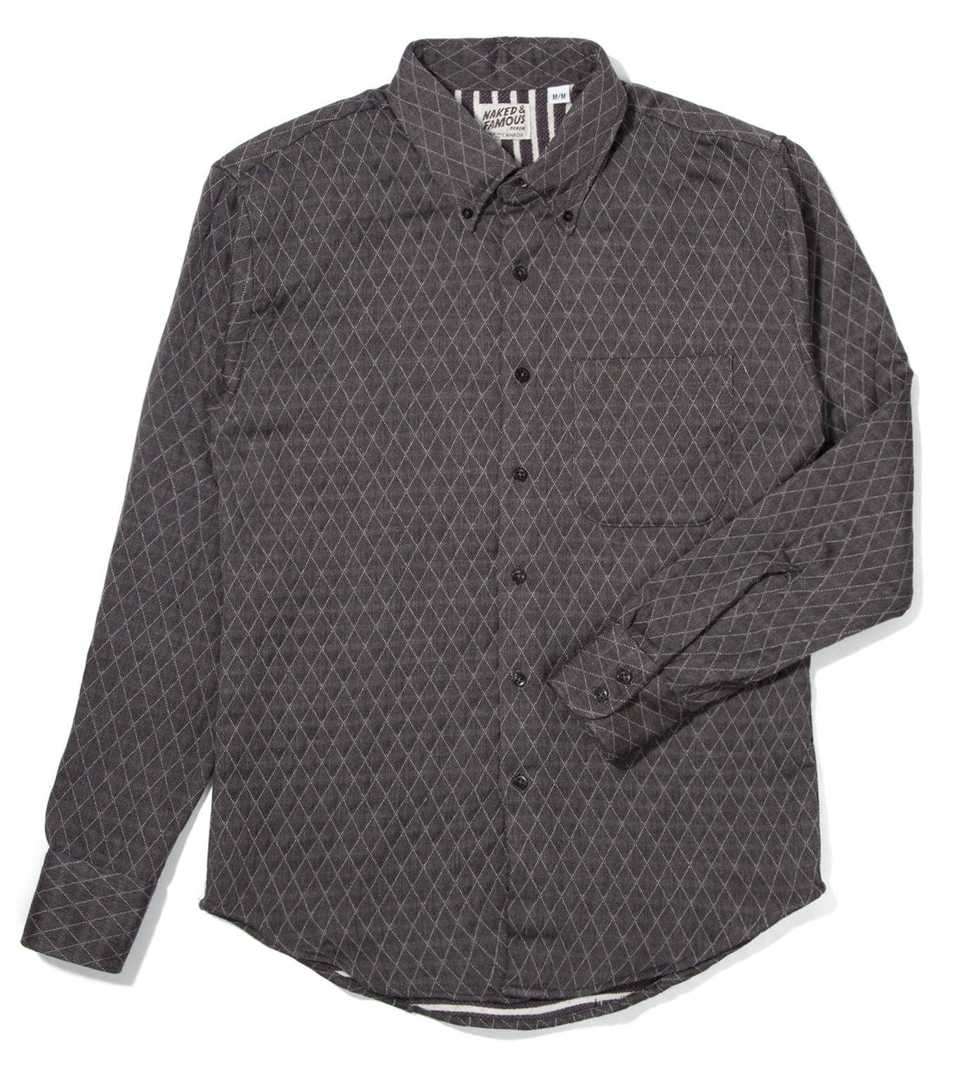 Naked & Famous Grey Quilted Doubleface Slim Shirt