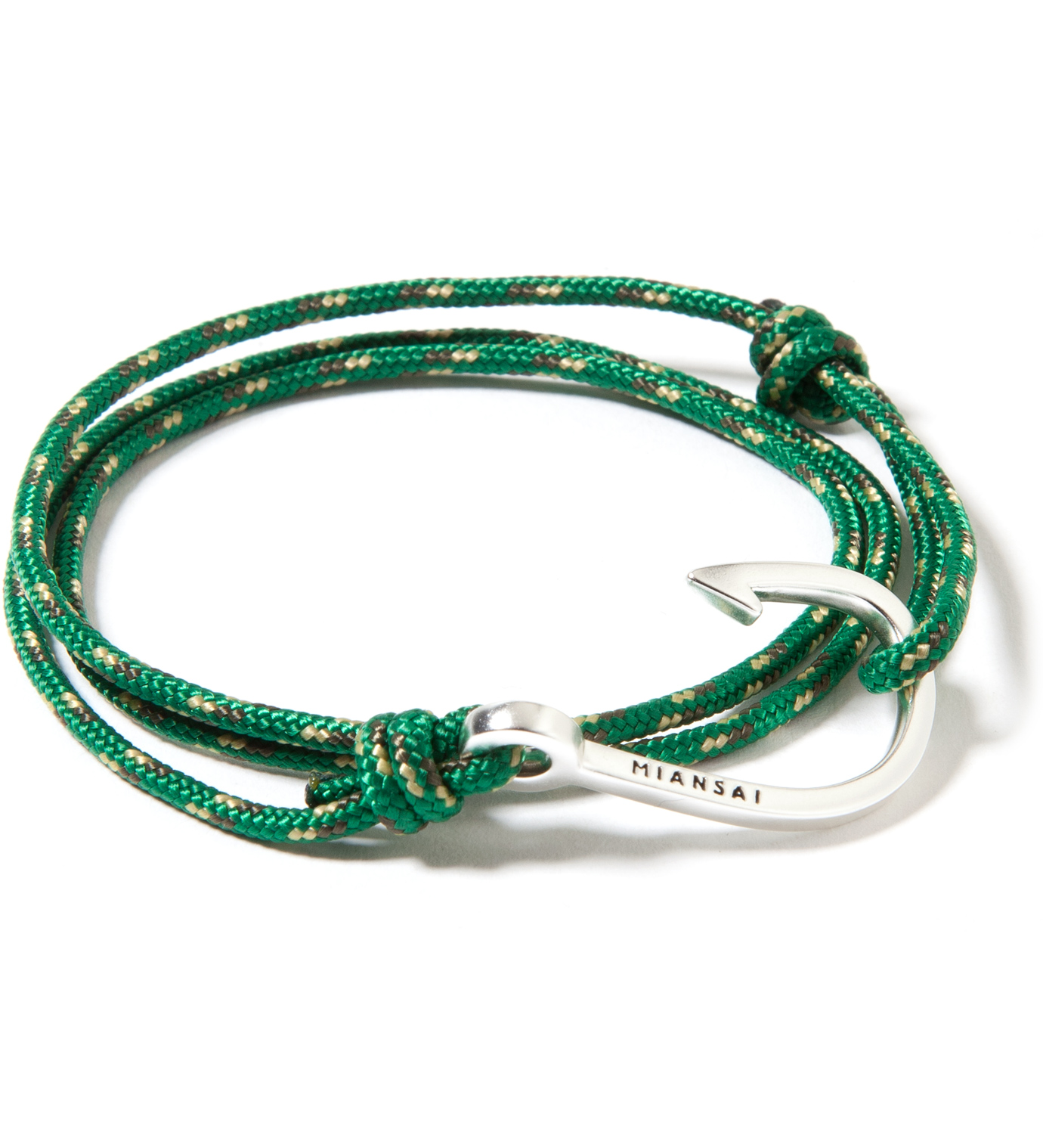 Miansai Silver Hook on Green Rope Bracelet