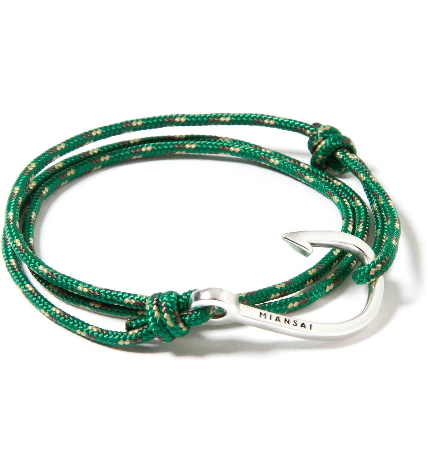 Miansai Silver Hook on Green Rope Bracelet