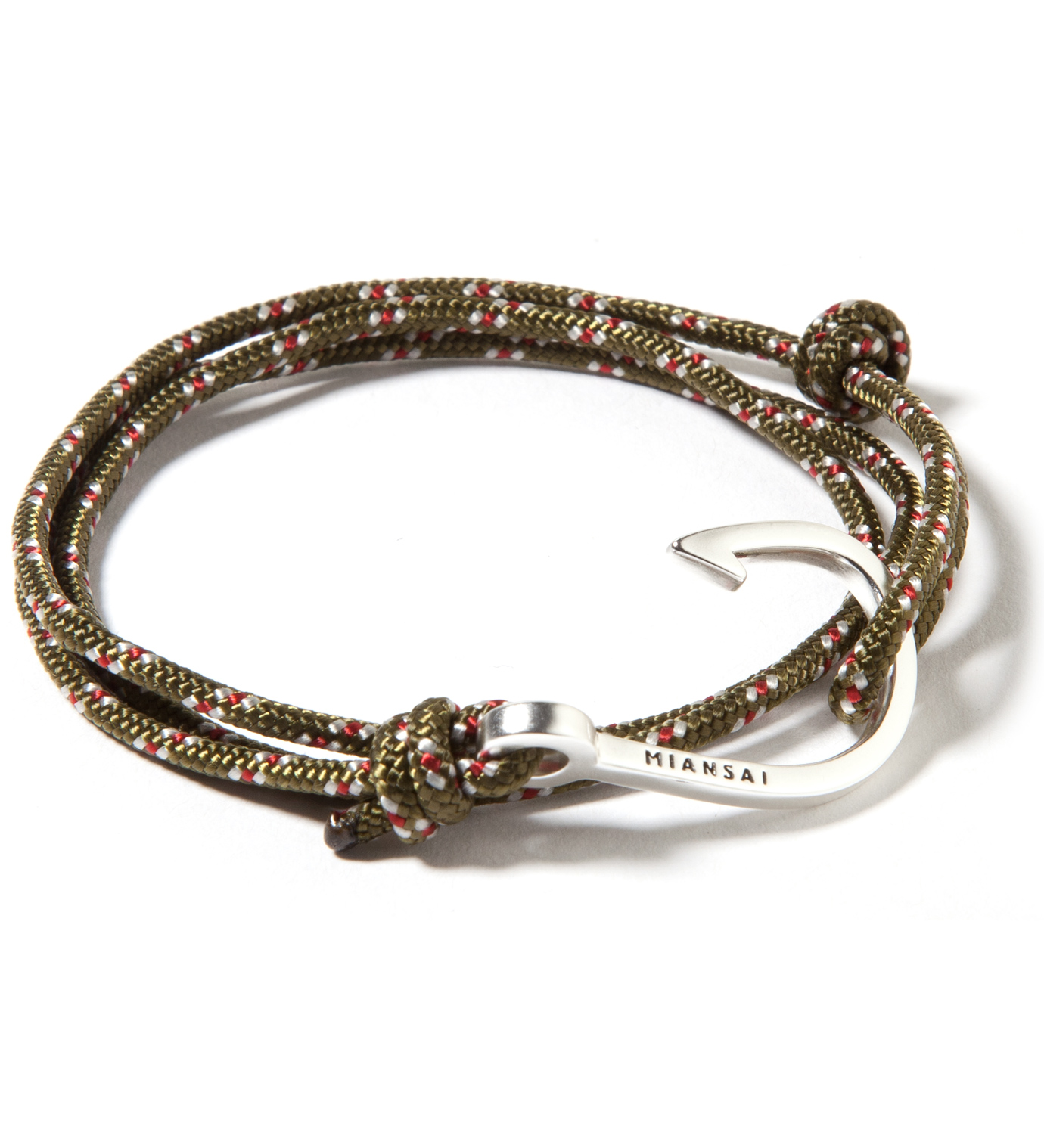 Miansai Silver Hook on Olive Rope Bracelet