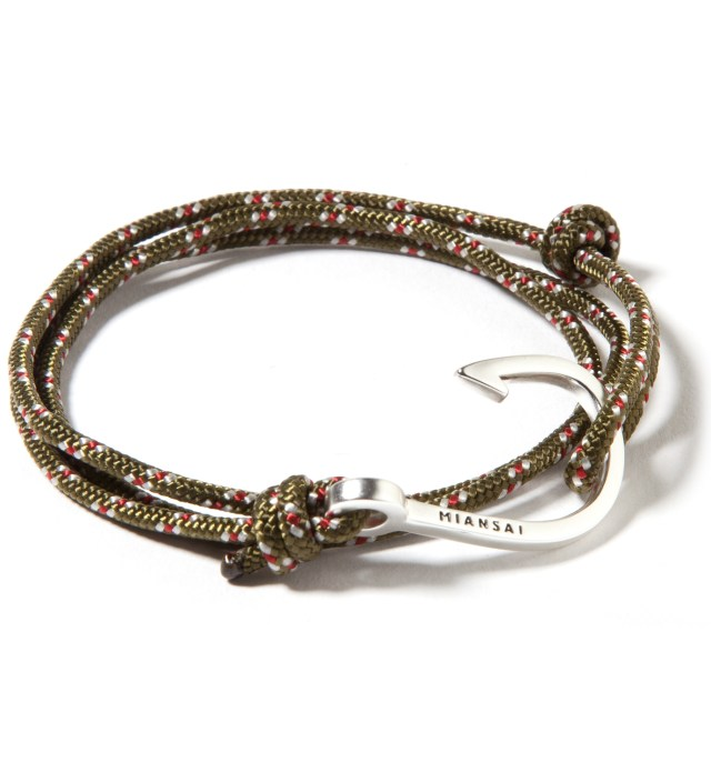 Miansai Silver Hook on Olive Rope Bracelet