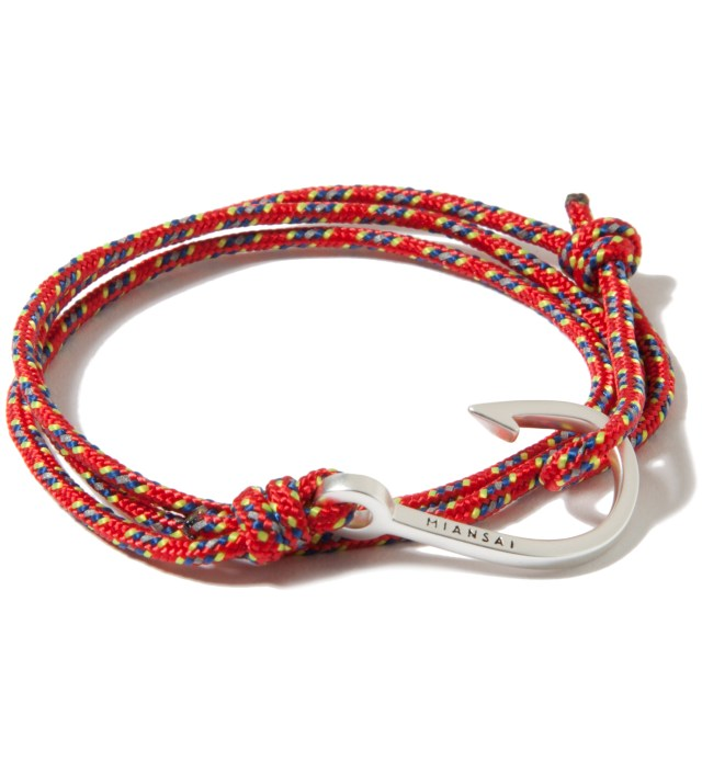 Miansai Silver Hook on Red Rope Bracelet