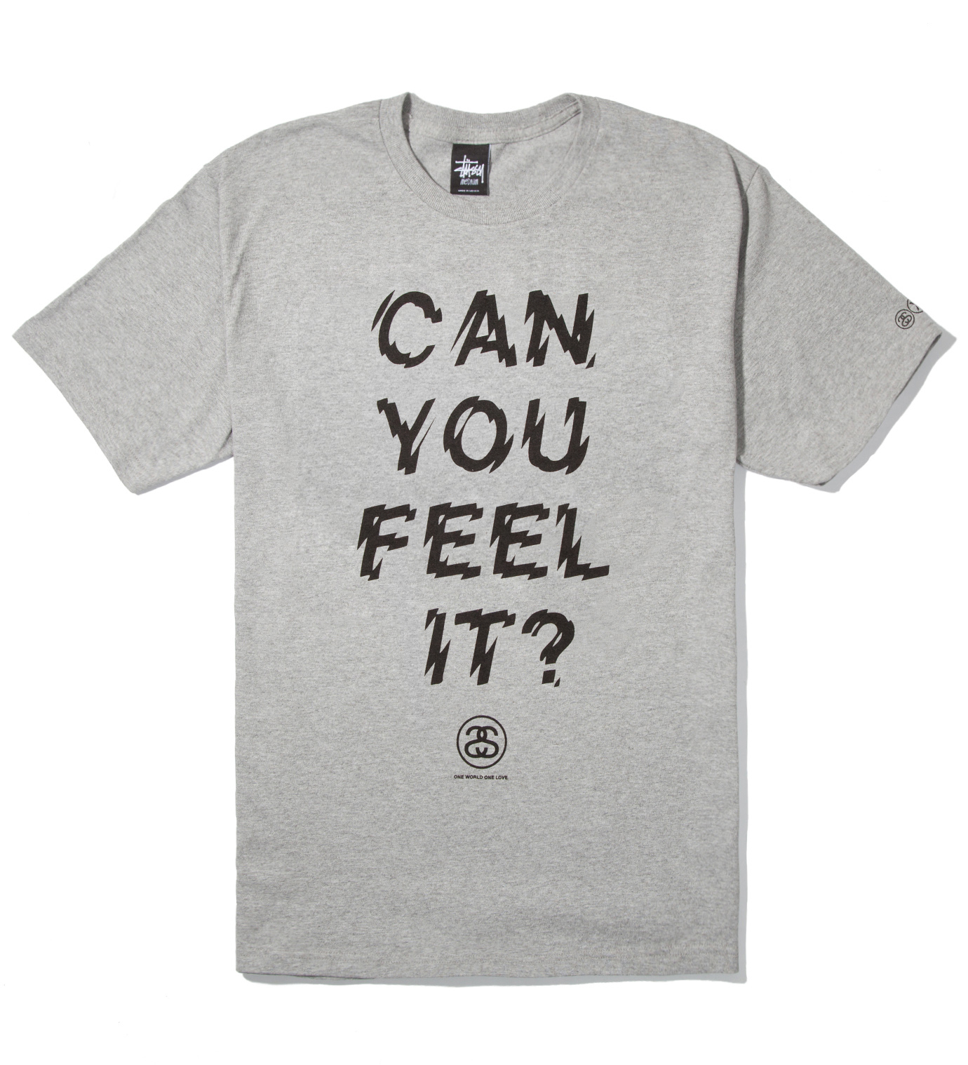 Stussy Heather Grey Can You Feel It? T-Shirt