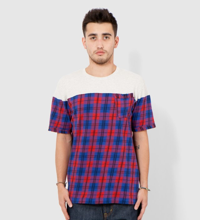 CASH CA Red Panel Check Short Sleeves T- Shirt