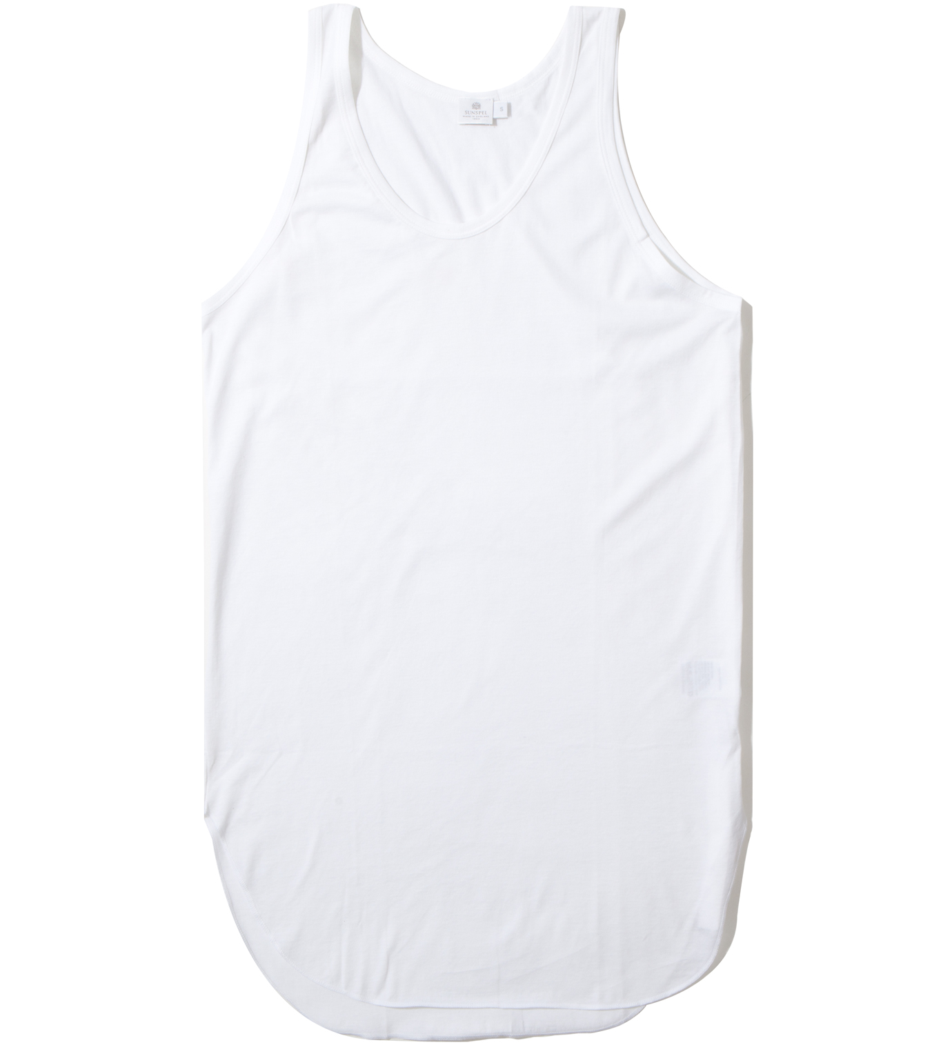 CASH CA Cash Ca x Sunspel White Long Inner Tank