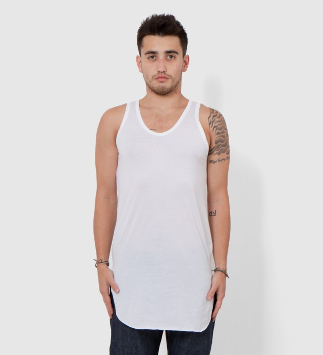 CASH CA Cash Ca x Sunspel White Long Inner Tank