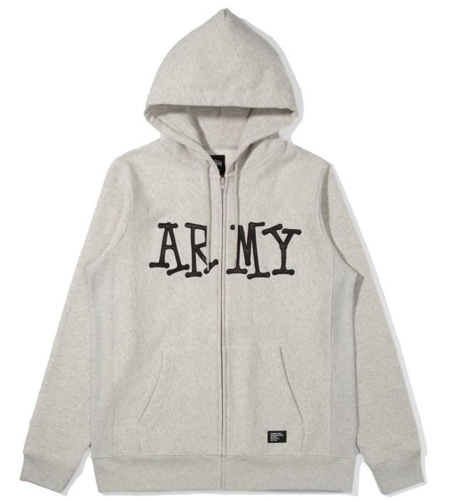 Stussy Heather Grey Army Zip Up Hoodie