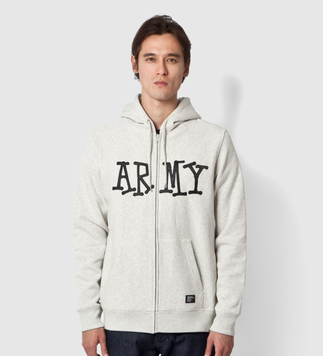 Stussy Heather Grey Army Zip Up Hoodie