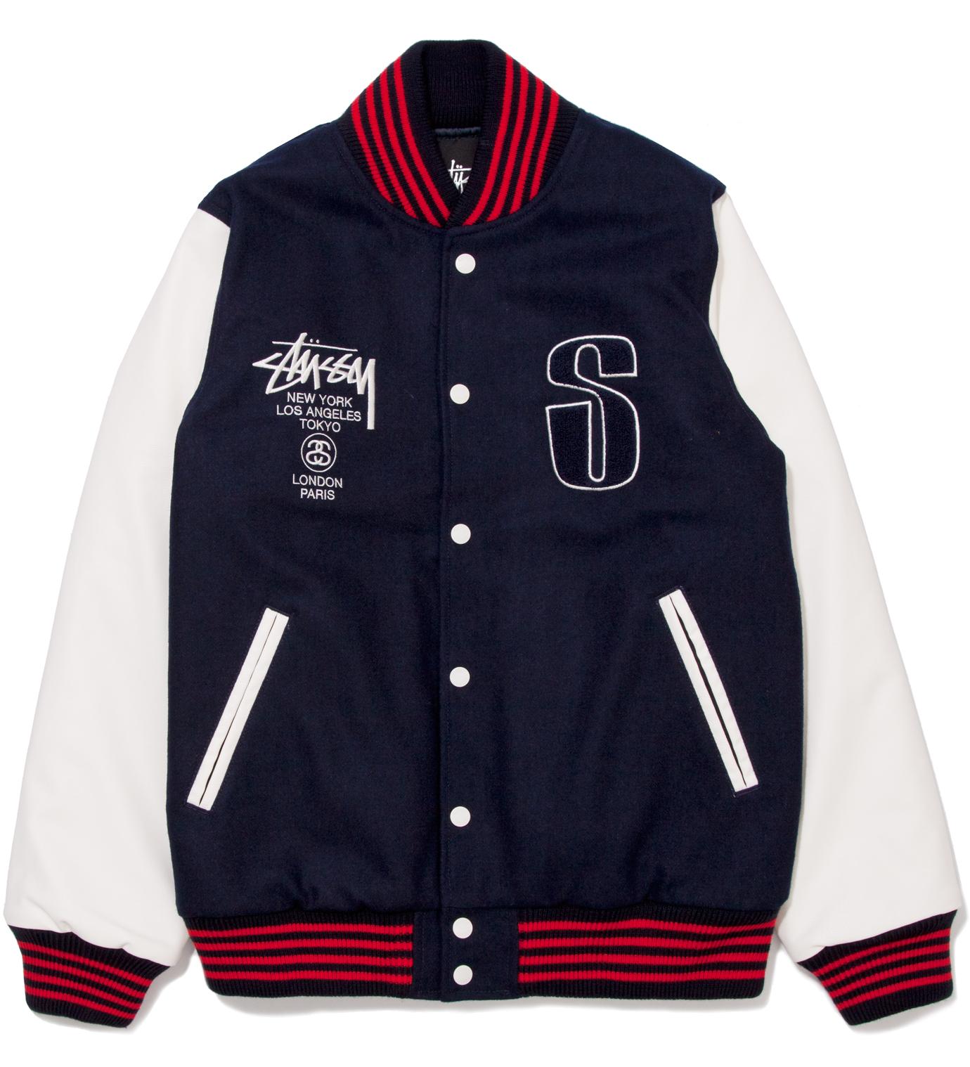 Stussy Navy Lettermans Jacket