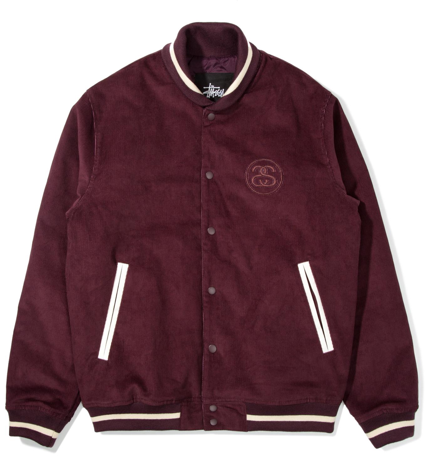 Stussy Burgundy Cord Varsity Jacket