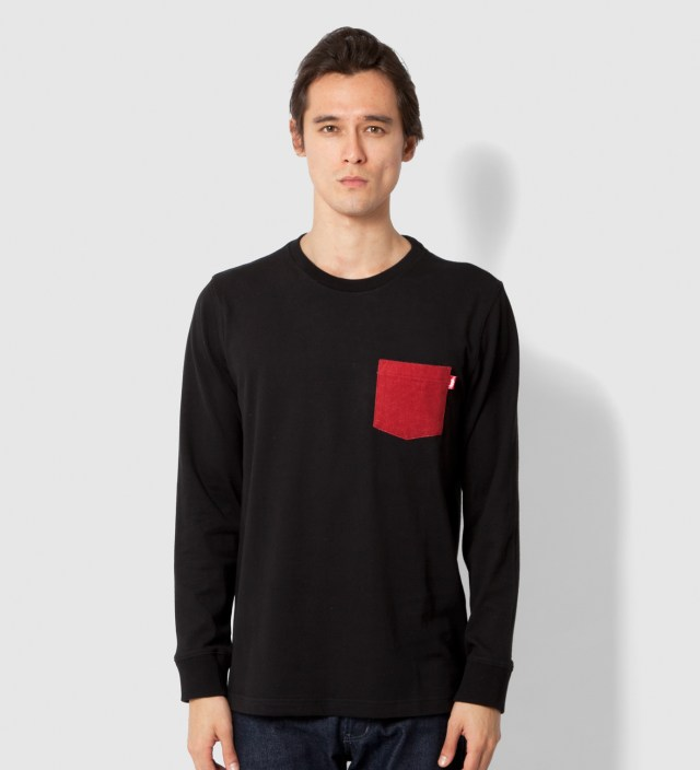 Stussy Black Flannel Pocket Long Sleeve T-Shirt