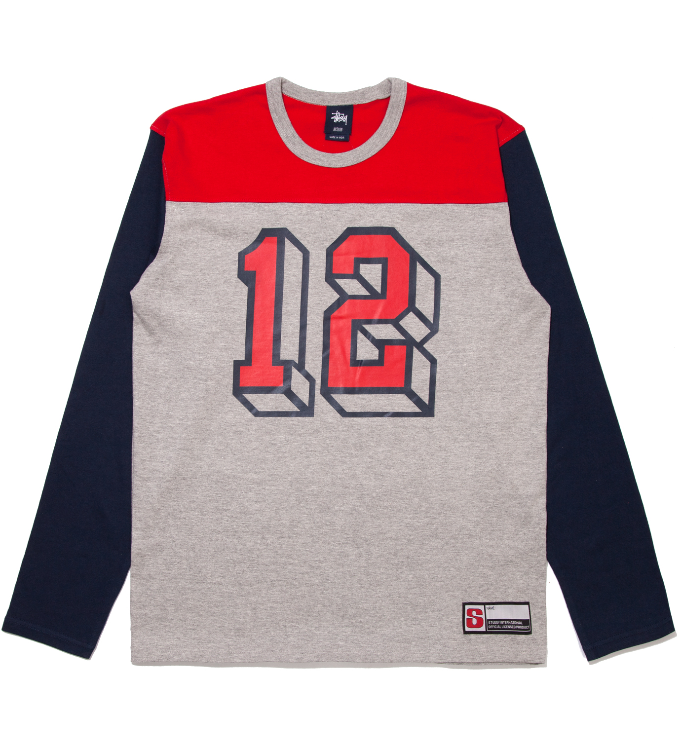 Stussy Grey Heather #12 Football Jersey Long Sleeved T-Shirt