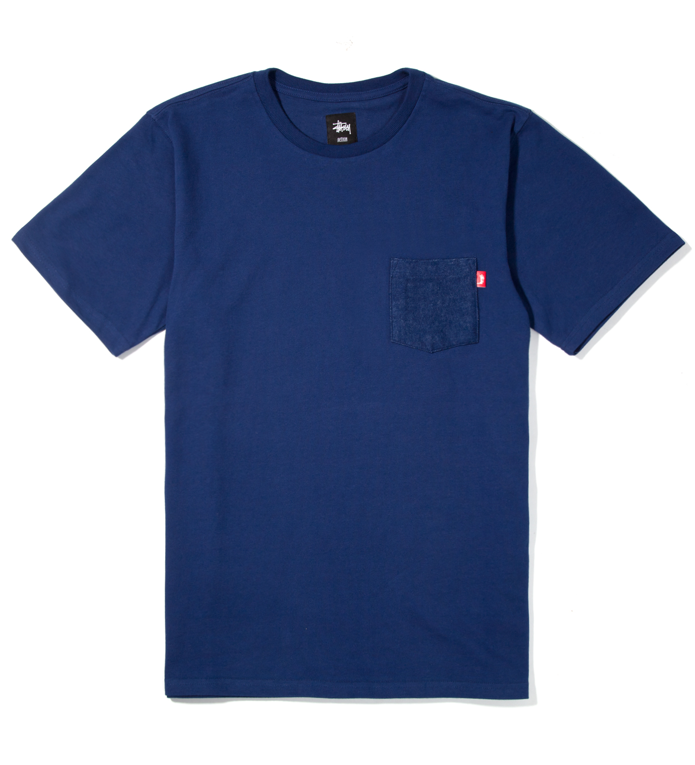 Stussy Navy Flannel Pocket T-Shirt