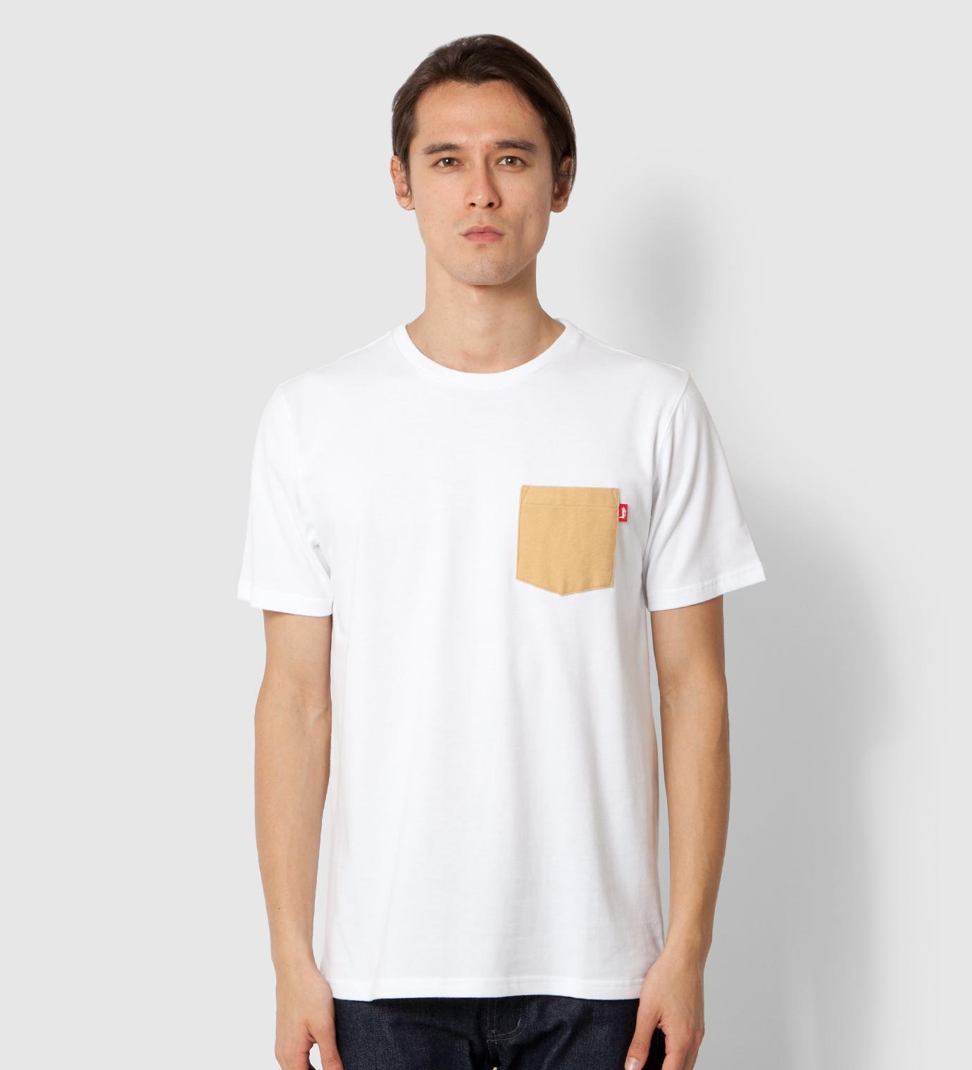 Stussy White Flannel Pocket T-Shirt