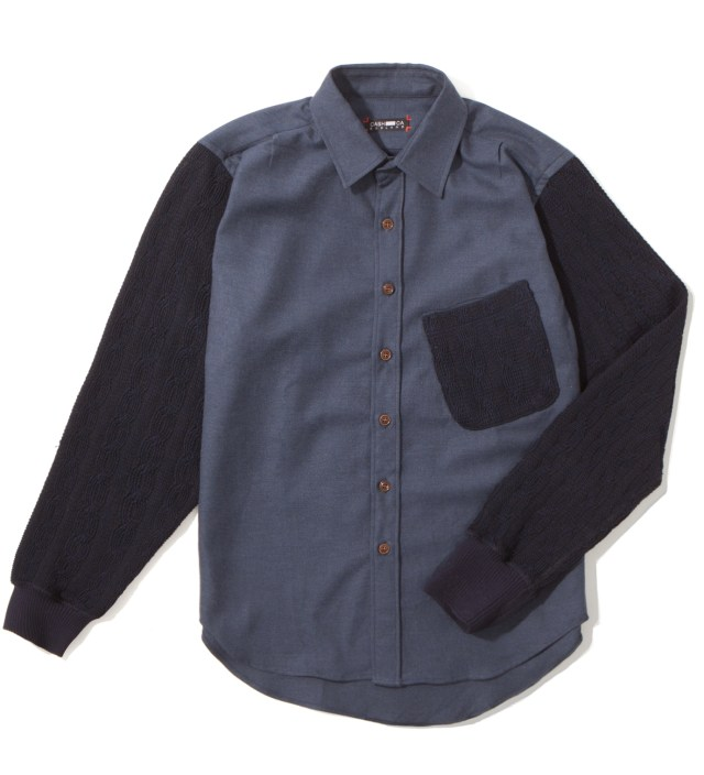 CASH CA Navy Knit Sleeve Shirt