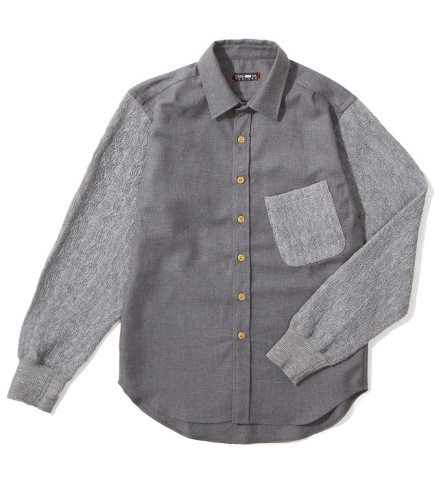 CASH CA Grey Knit Sleeve Shirt