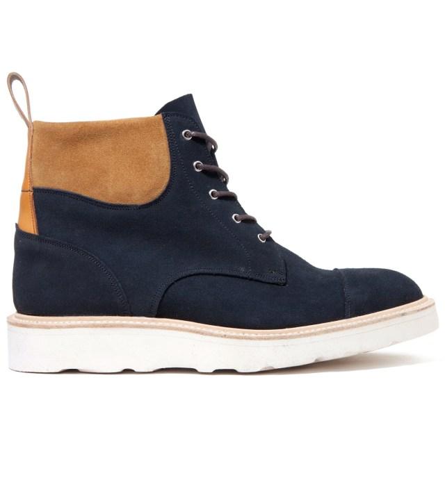 CASH CA Cash Ca x Tricker's Navy & Tan Capped Toe Derby Boots