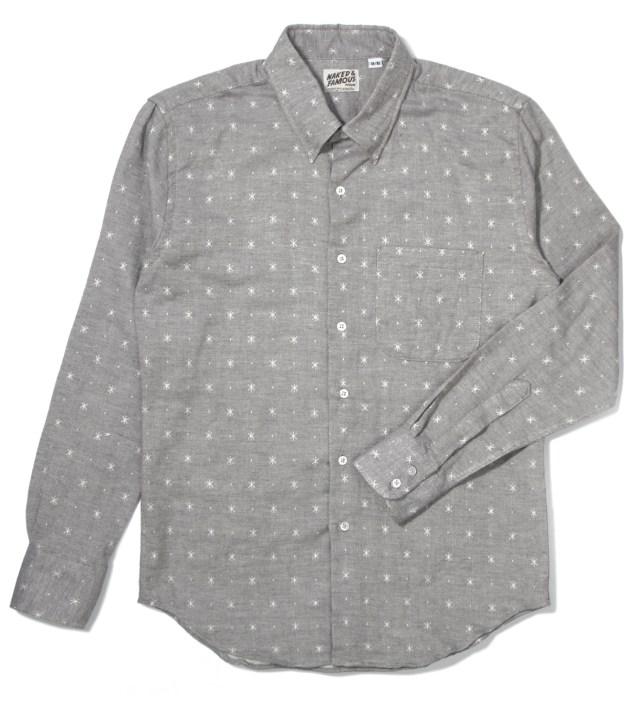 Naked & Famous Grey Snow Jacquard Double Weave Slim Shirt