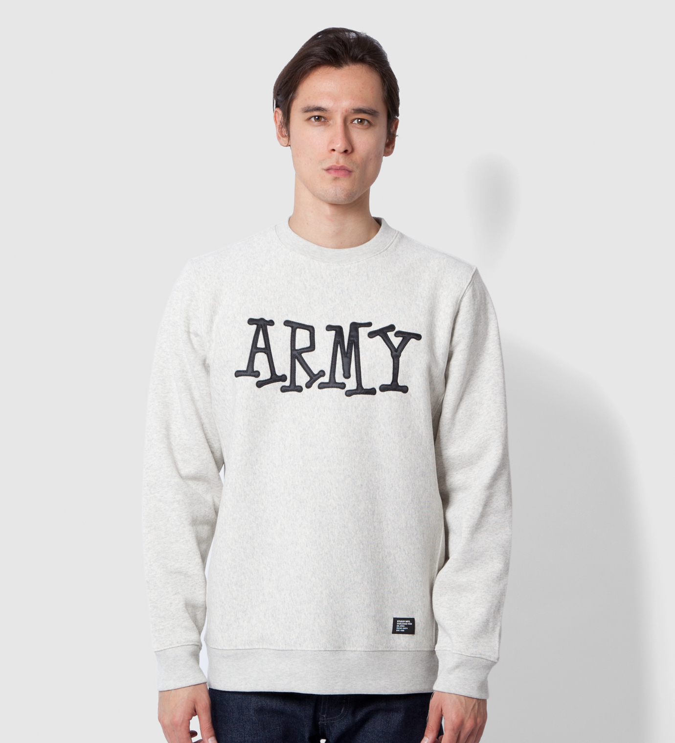 Stussy Heather Grey Army Crew Sweater