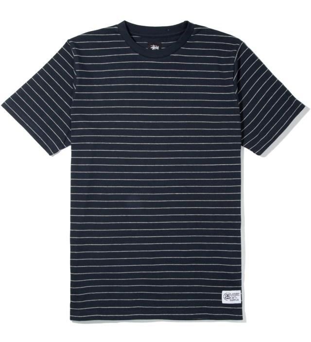 Stussy Heather Grey Navy Stripes T-Shirt