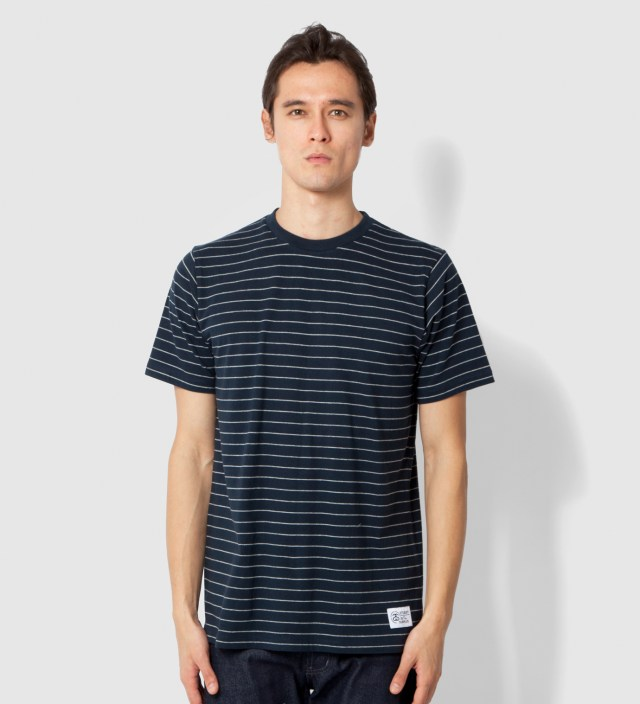 Stussy Heather Grey Navy Stripes T-Shirt