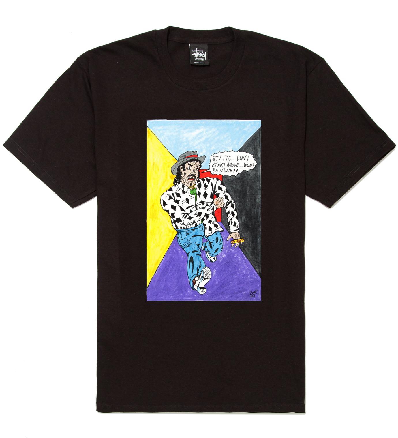 Stussy Black Real Deal Static T-Shirt