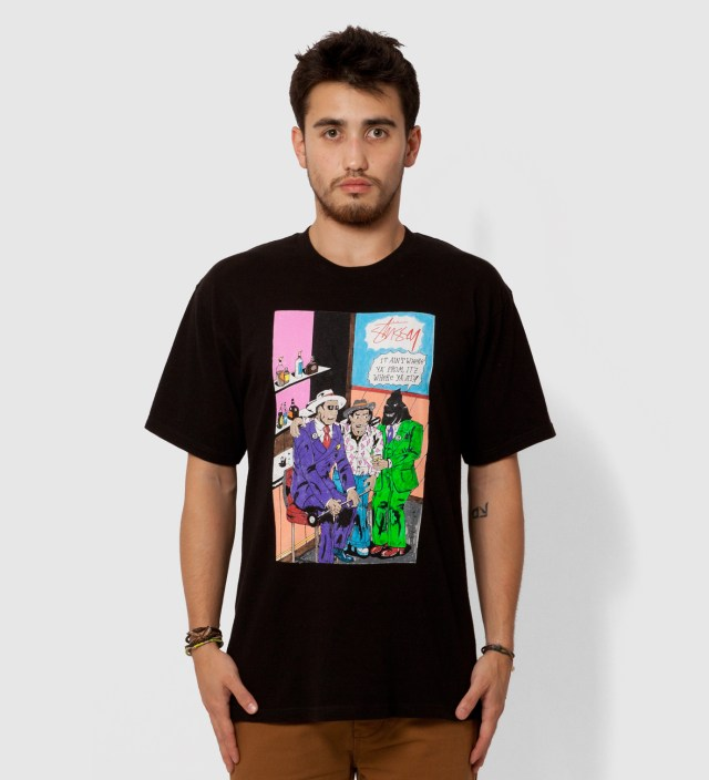 Stussy Black Real Deal Bar T-Shirt