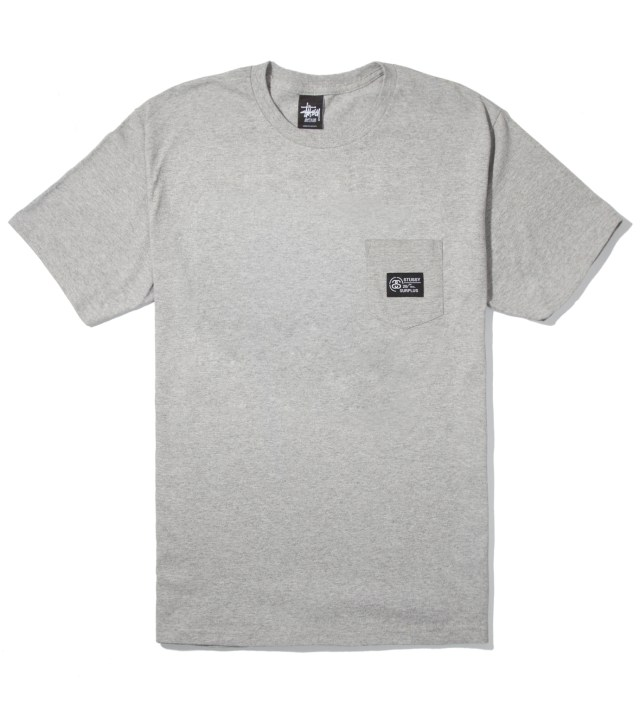 Stussy Heather Grey Locker Pocket T-Shirt