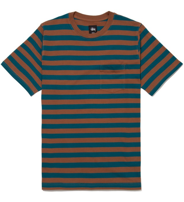 Stussy Teal Fireside Stripe T-Shirt