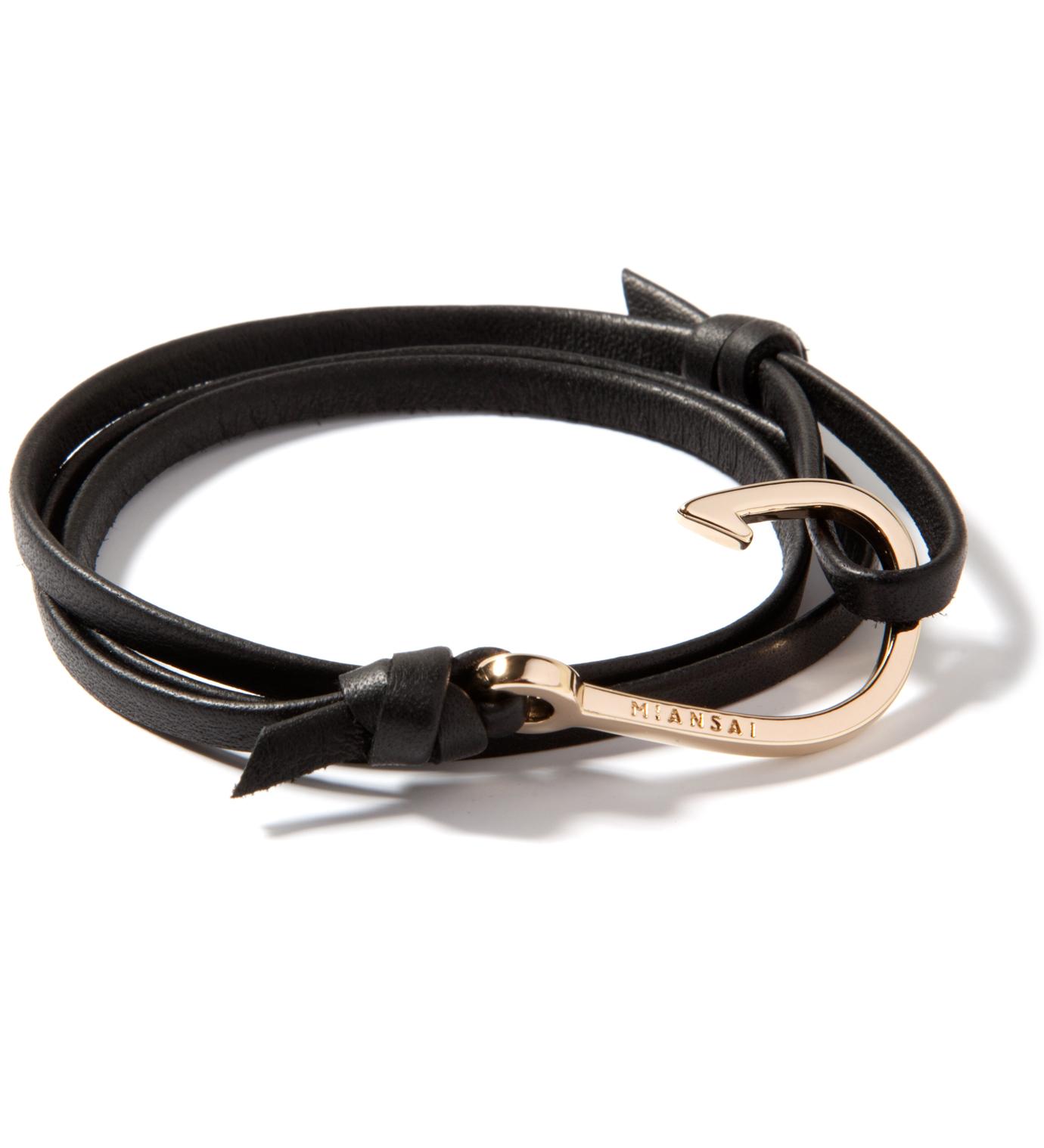 Miansai Gold Hook on Black Leather Bracelet