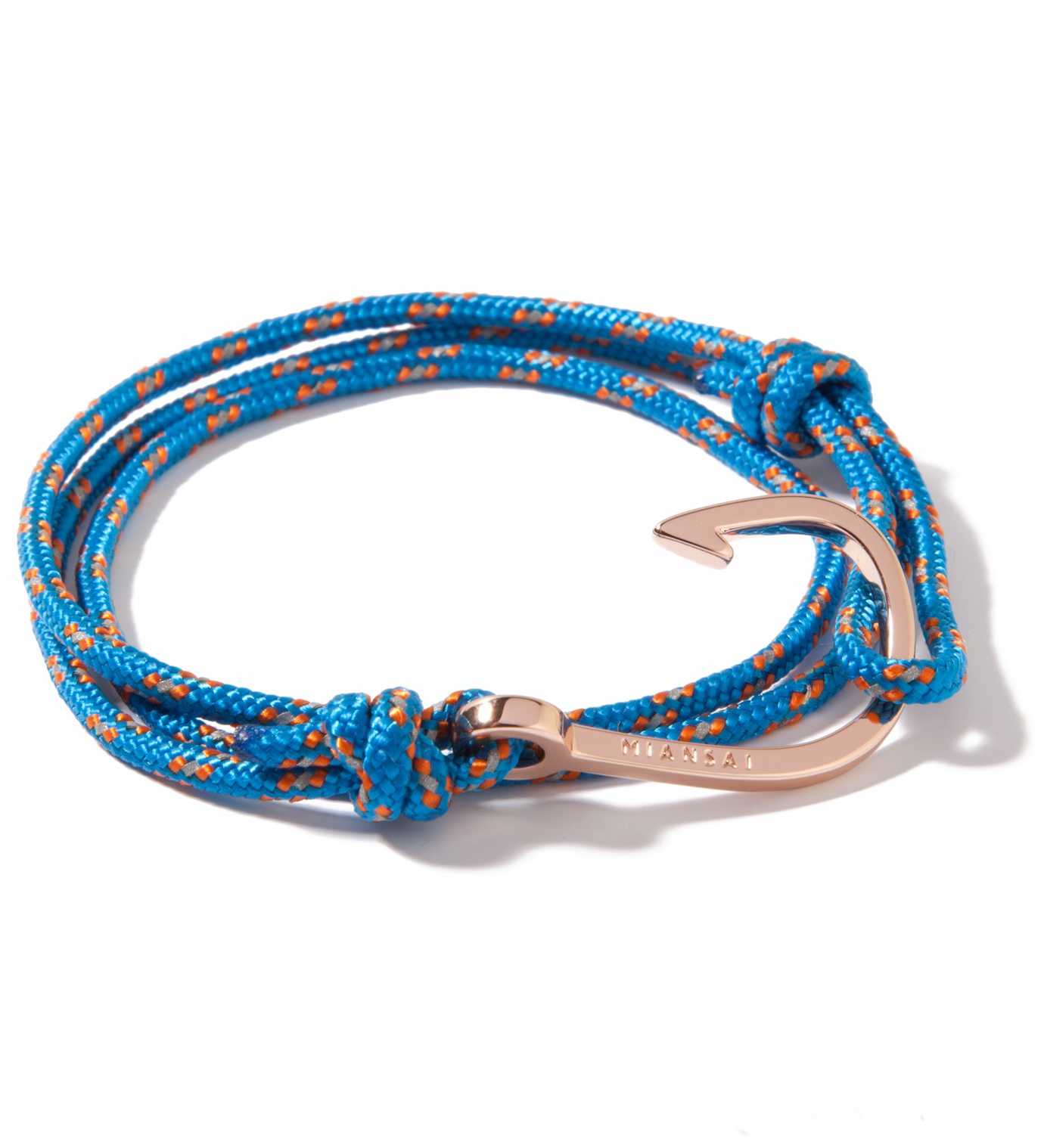 Miansai Rose Gold Hook on Caribbean Rope Bracelet