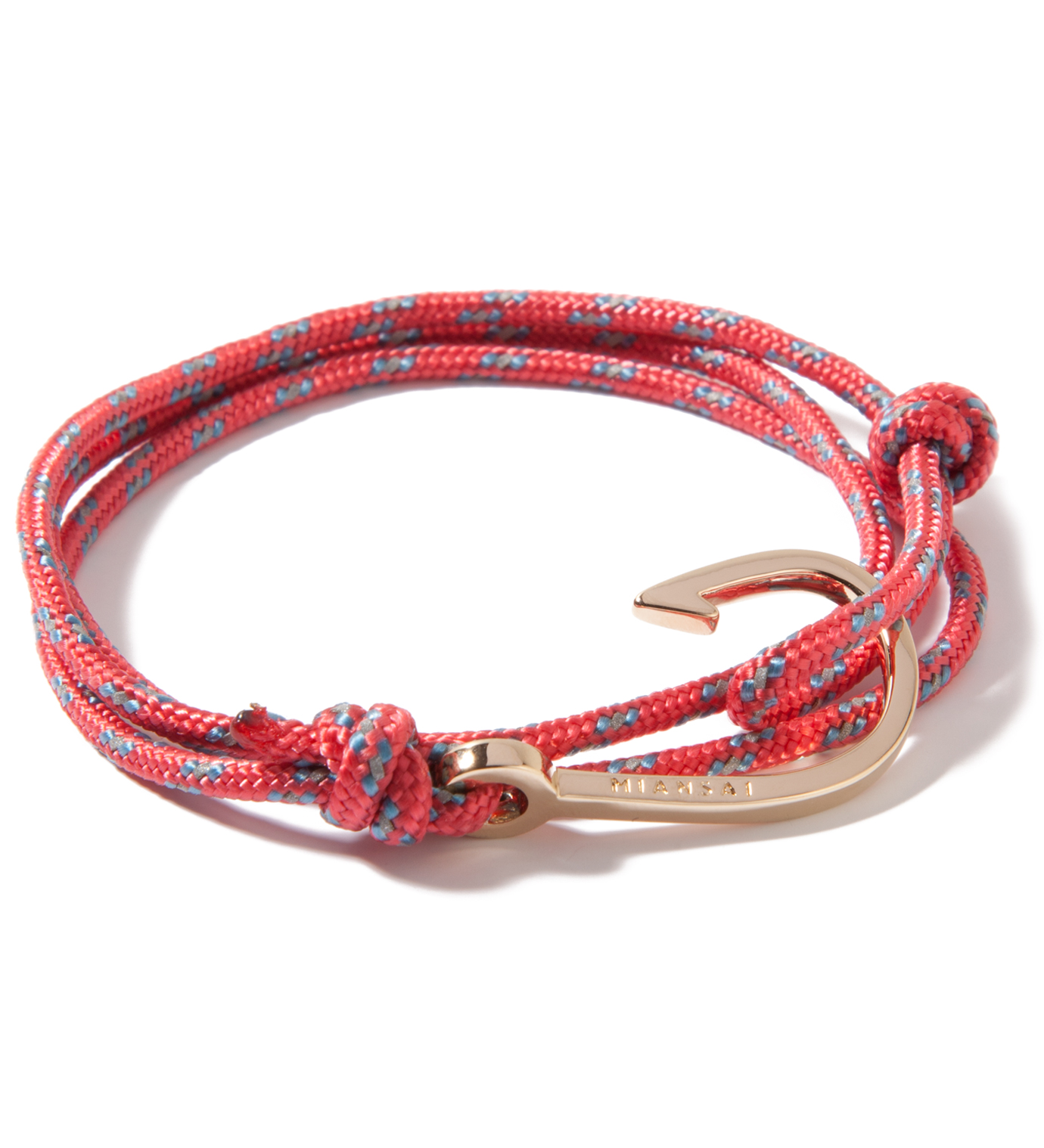 Miansai Gold Hook on Salmon Rope Bracelet