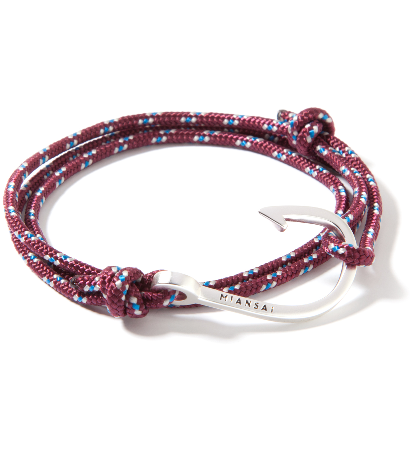 Miansai Silver Hook on Burgundy Rope Bracelet