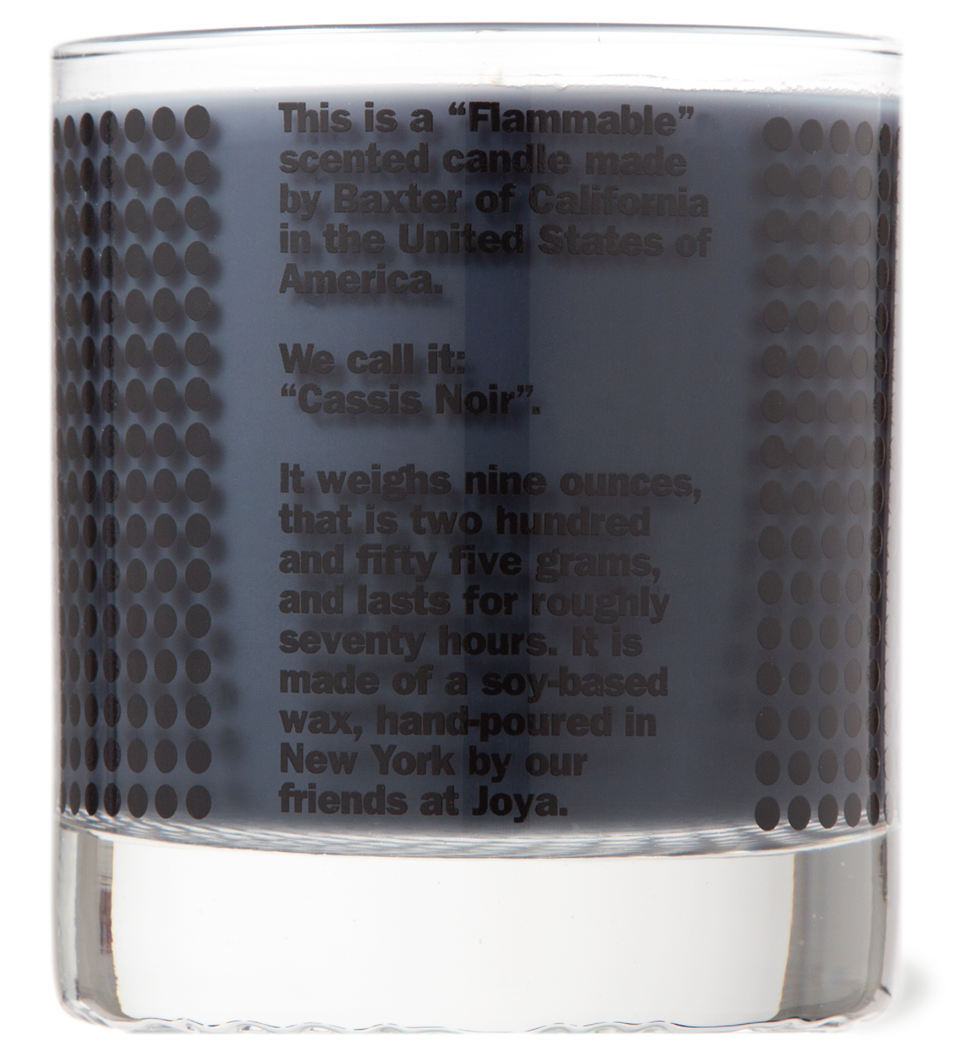 """Baxter of California """"FLAMMABLE"""" Cassis Noir Candle"""