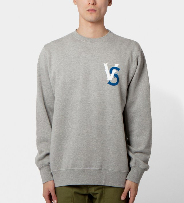 Us Versus Them Heather Grey Pennant Race Crewneck