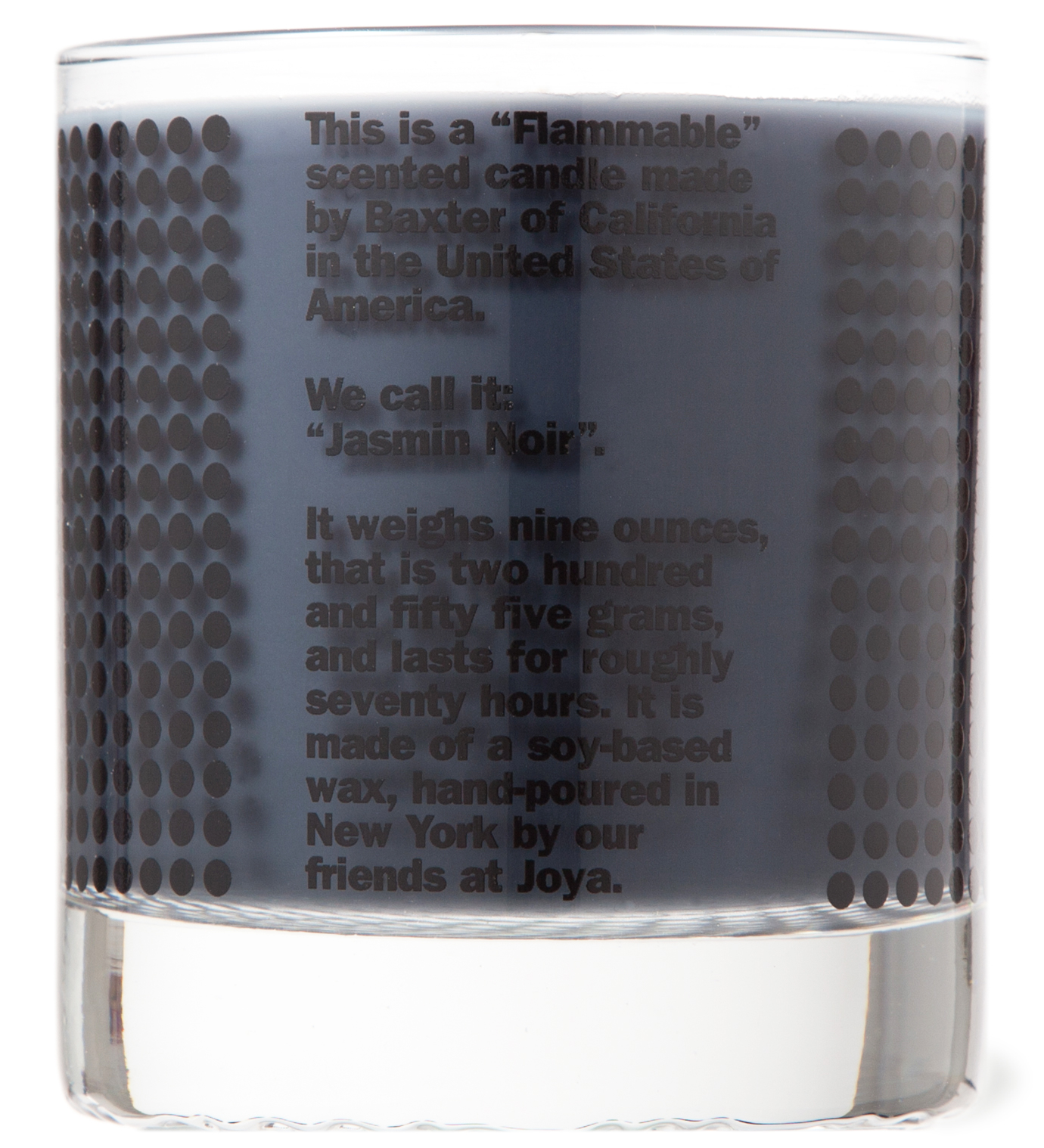 "Baxter of California ""FLAMMABLE"" Jasmin Noir Candle"