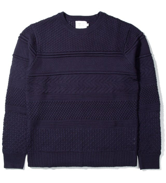 Shades of Grey by Micah Cohen Navy Multi-Knit Crewneck Sweater