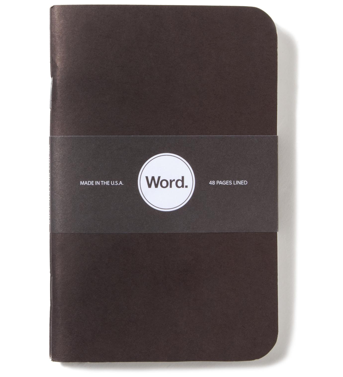 Word. Black 3 Pack Notebook