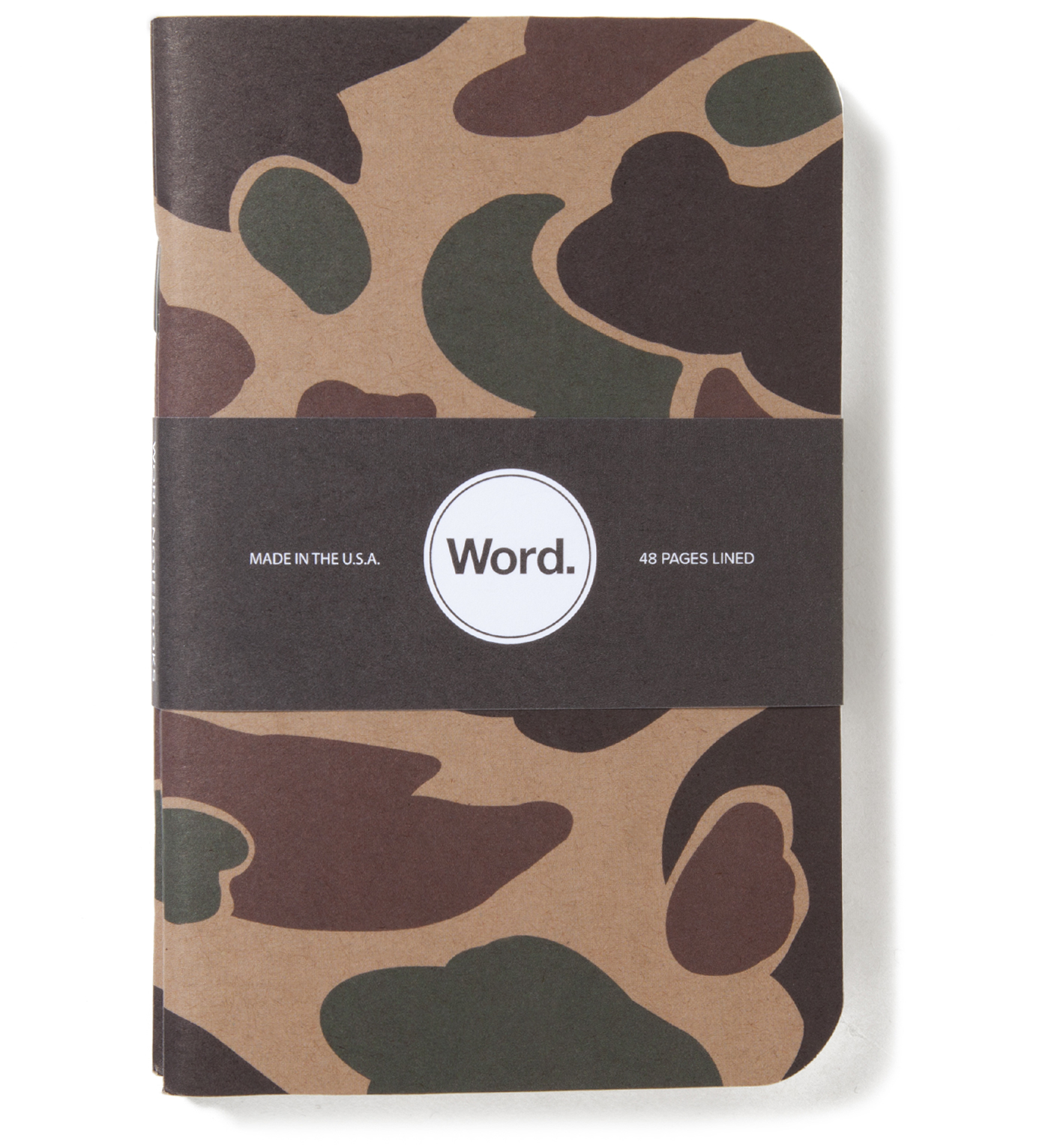 Word. Tan Camo 3 Pack Notebook