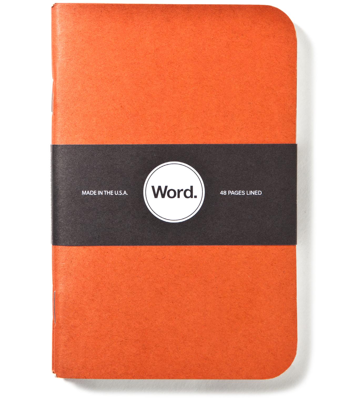 Word. Orange Camo 3 Pack Notebook