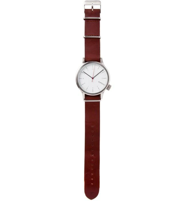 KOMONO Silver Burgundy Magnus Watch