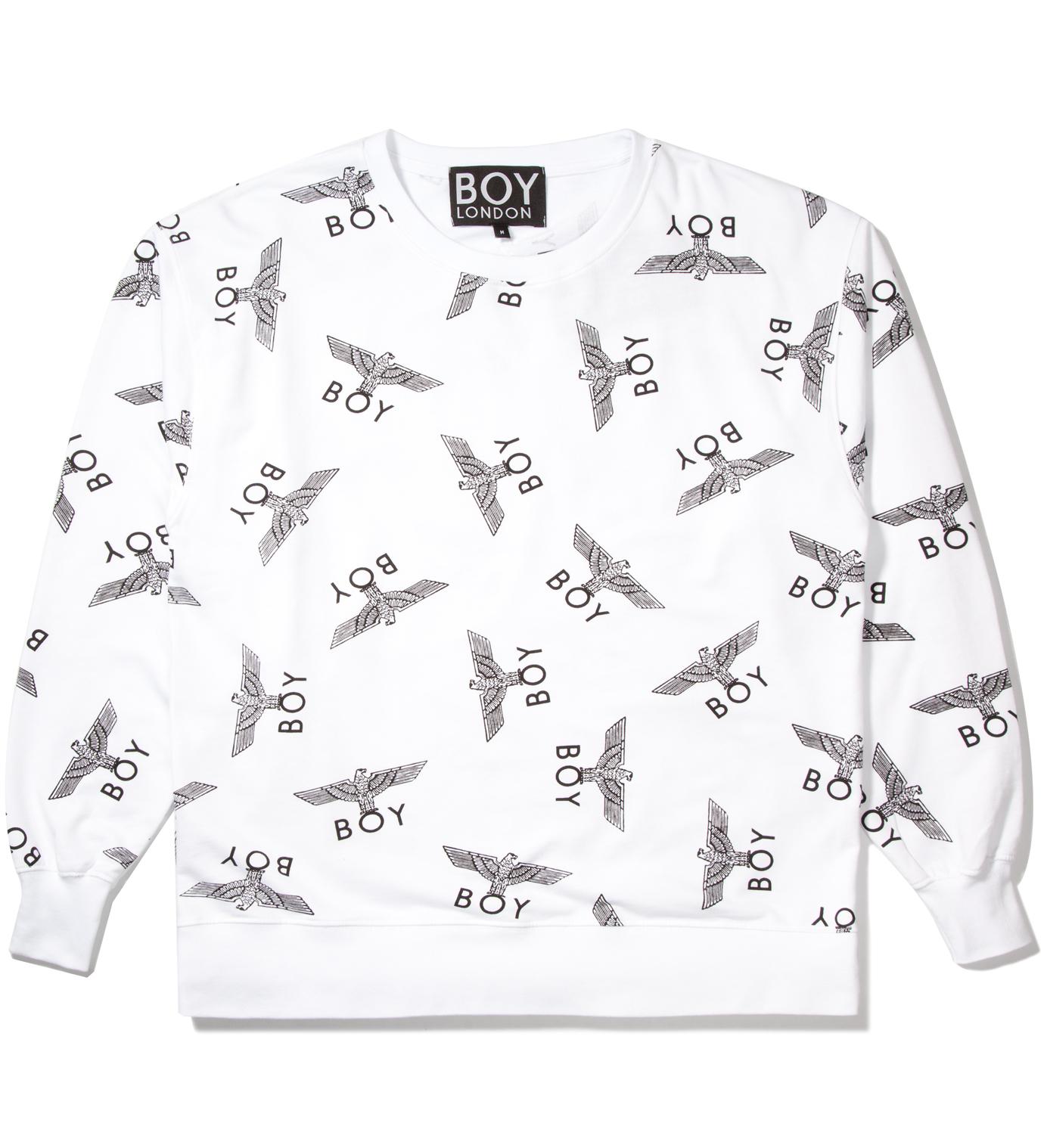BOY London White/Black Boy Repeat Sweater