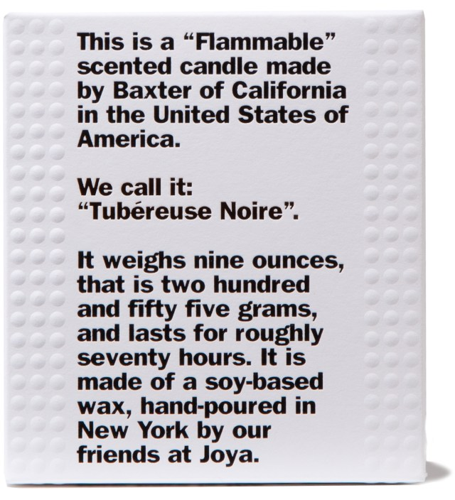 """Baxter of California """"FLAMMABLE"""" Tubéreuse Noire Candle"""