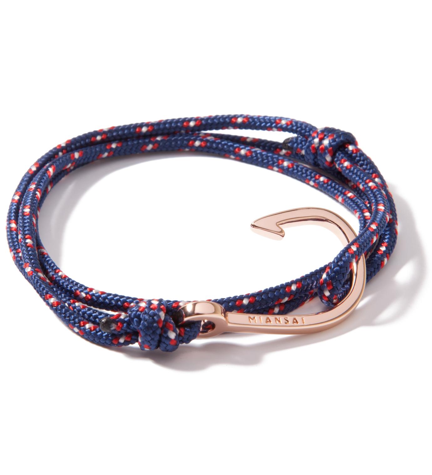 Miansai Rose Gold Hook on Navy Rope Bracelet