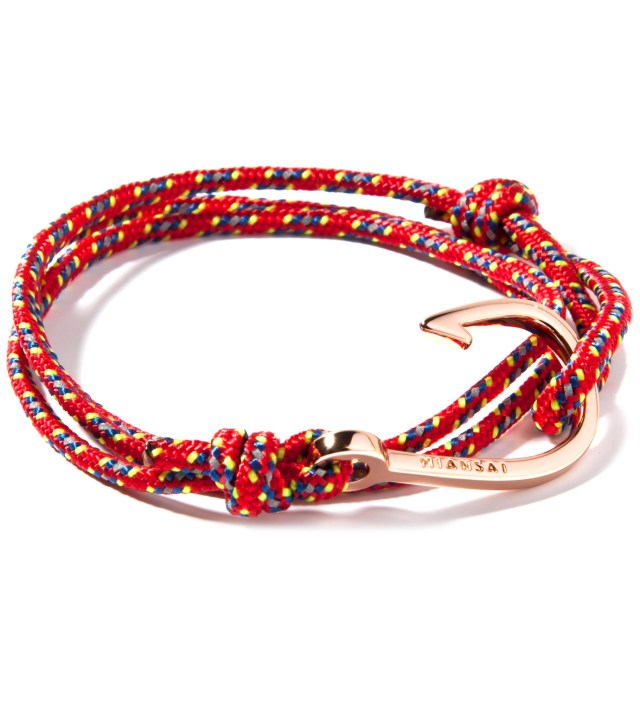 Miansai Rose Gold Hook on Red Rope Bracelet