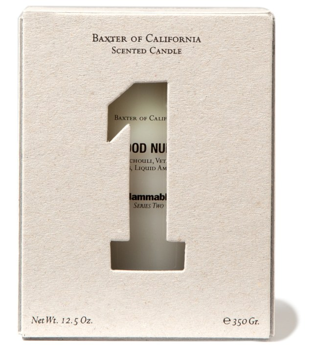 Baxter of California White Wood Number One Candle