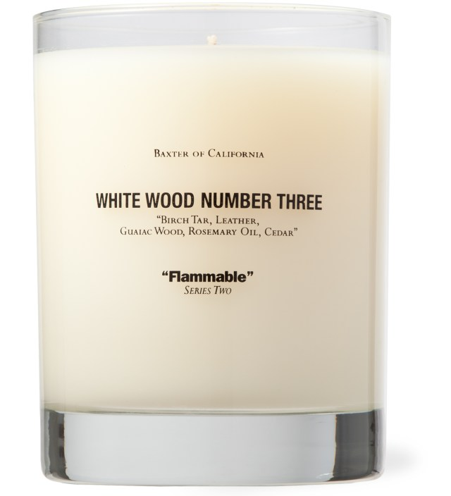 Baxter of California White Wood Number Three Candle